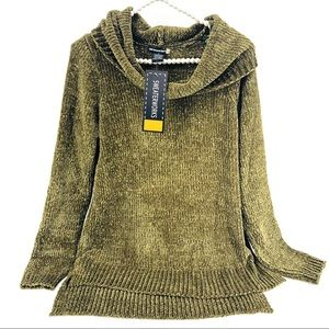 NWT Olive Chenille Cowl Neck Oversized Sweater SM